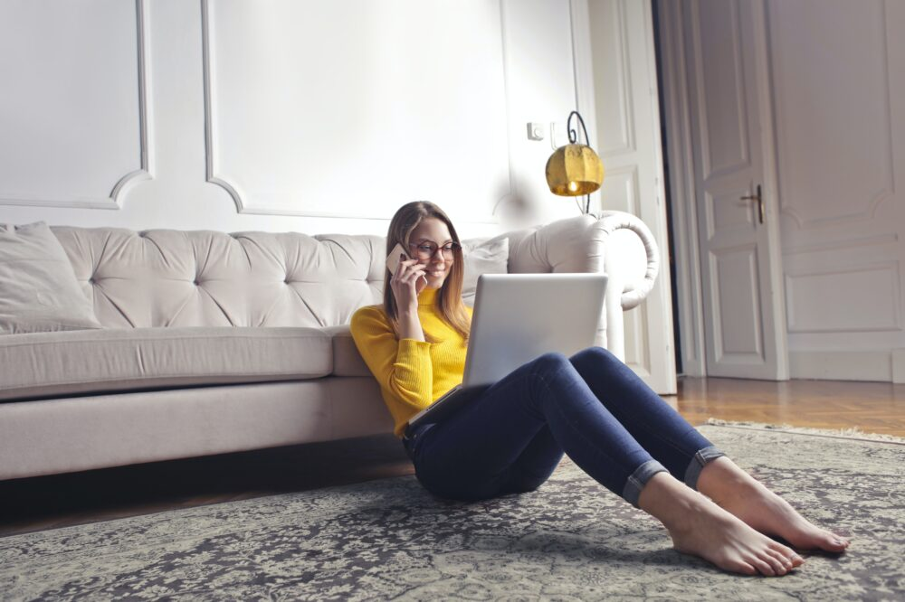 lady in living room